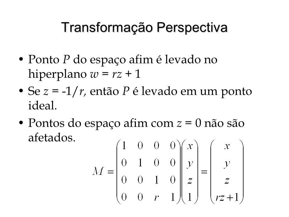 Transformação Perspectiva Ponto P do espaço afim é levado no hiperplano w = rz + 1 Se z = -1/ r, então P é levado em um ponto ideal. Pontos do espaço
