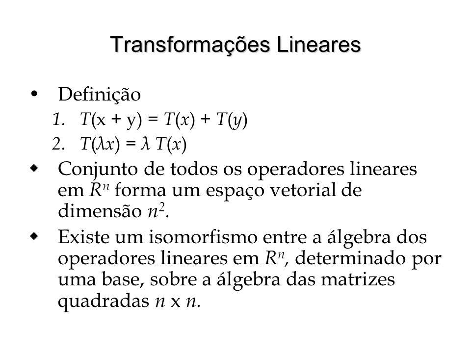 Transformações Lineares Definição 1. T (x + y) = T ( x ) + T ( y ) 2. T ( λx ) = λ T ( x ) Conjunto de todos os operadores lineares em R n forma um es