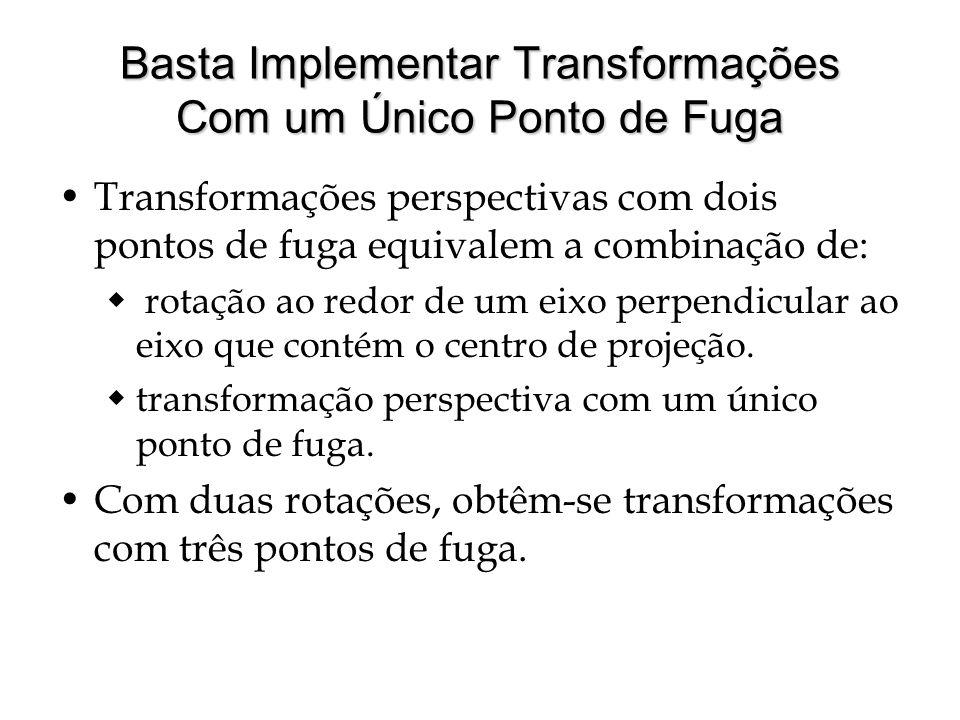 Basta Implementar Transformações Com um Único Ponto de Fuga Transformações perspectivas com dois pontos de fuga equivalem a combinação de: rotação ao