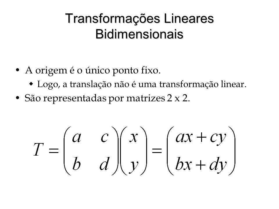 Transformações Lineares Bidimensionais A origem é o único ponto fixo. Logo, a translação não é uma transformação linear. São representadas por matrize