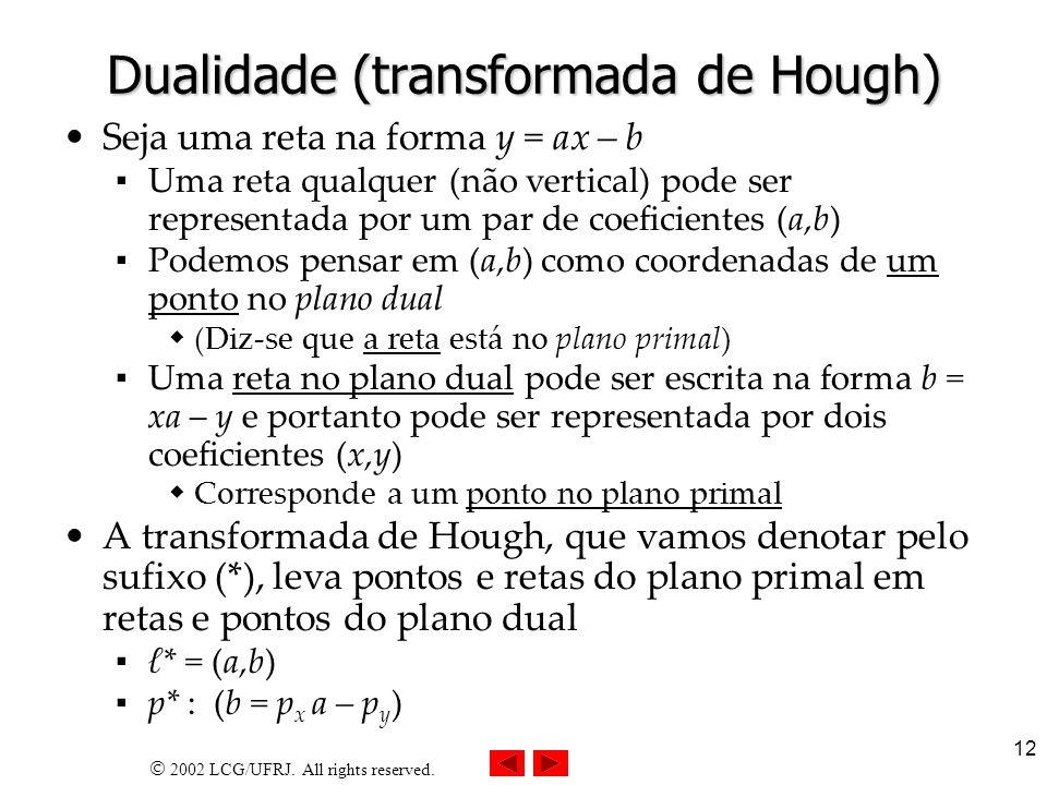 2002 LCG/UFRJ. All rights reserved. 12 Dualidade (transformada de Hough) Seja uma reta na forma y = ax – b Uma reta qualquer (não vertical) pode ser r