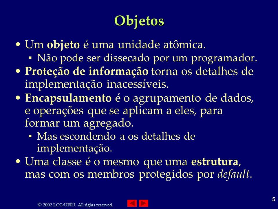 2002 LCG/UFRJ. All rights reserved. 5 Objetos Um objeto é uma unidade atômica.