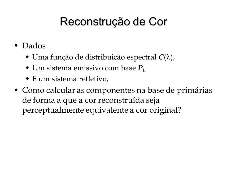 Reconstrução de Cor Dados Uma função de distribuição espectral C ( ), Um sistema emissivo com base P k E um sistema refletivo, Como calcular as componentes na base de primárias de forma a que a cor reconstruída seja perceptualmente equivalente a cor original?