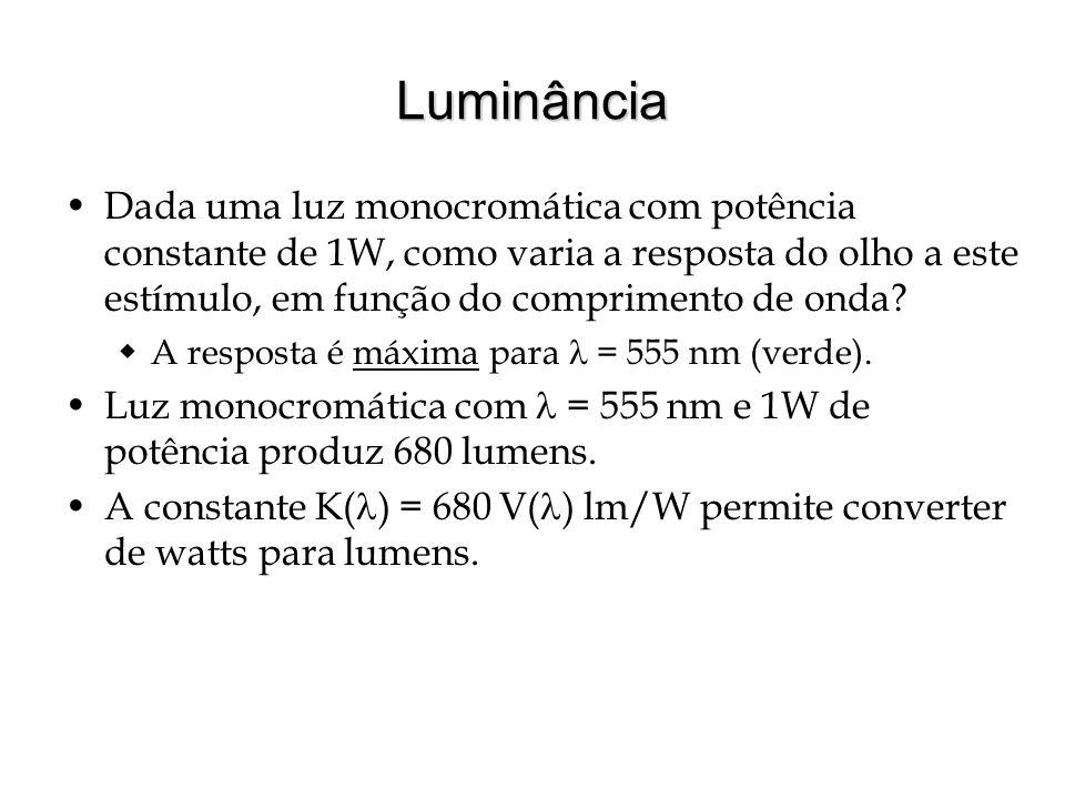 Luminância Dada uma luz monocromática com potência constante de 1W, como varia a resposta do olho a este estímulo, em função do comprimento de onda.