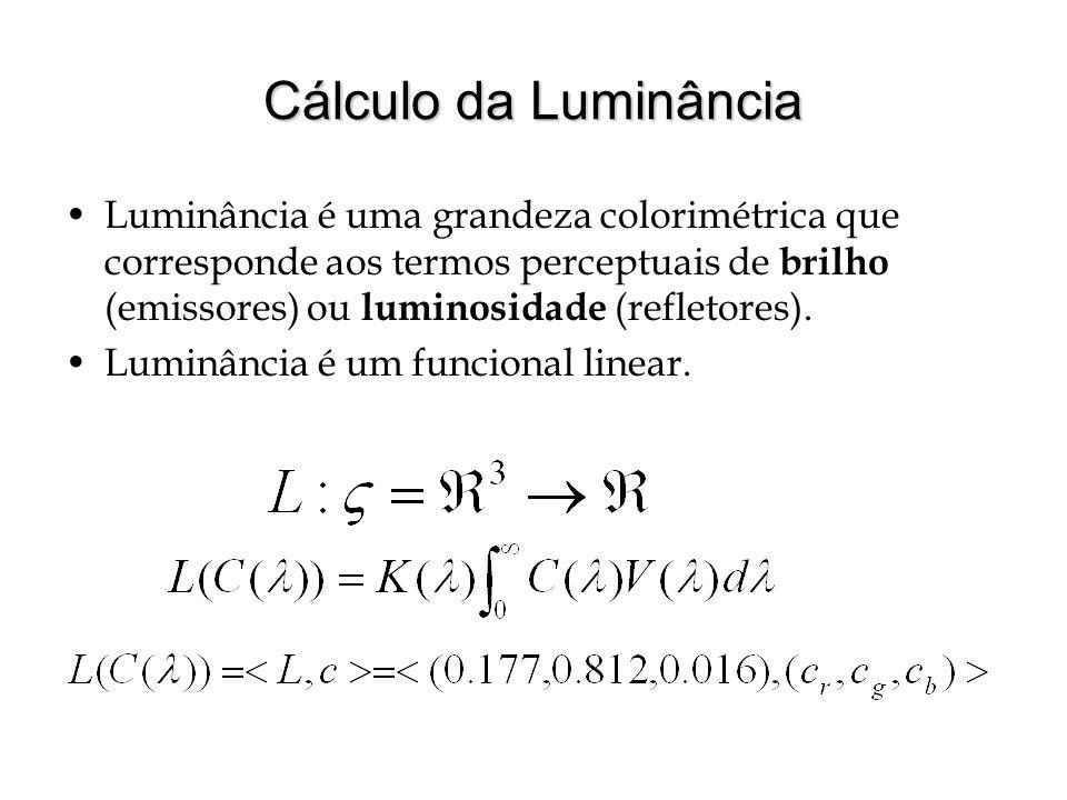 Cálculo da Luminância Luminância é uma grandeza colorimétrica que corresponde aos termos perceptuais de brilho (emissores) ou luminosidade (refletores).