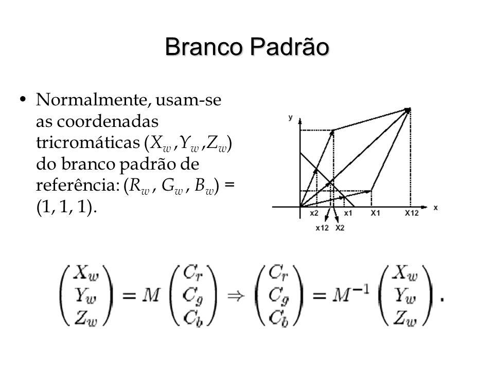 Branco Padrão Normalmente, usam-se as coordenadas tricromáticas ( X w, Y w, Z w ) do branco padrão de referência: ( R w, G w, B w ) = (1, 1, 1).