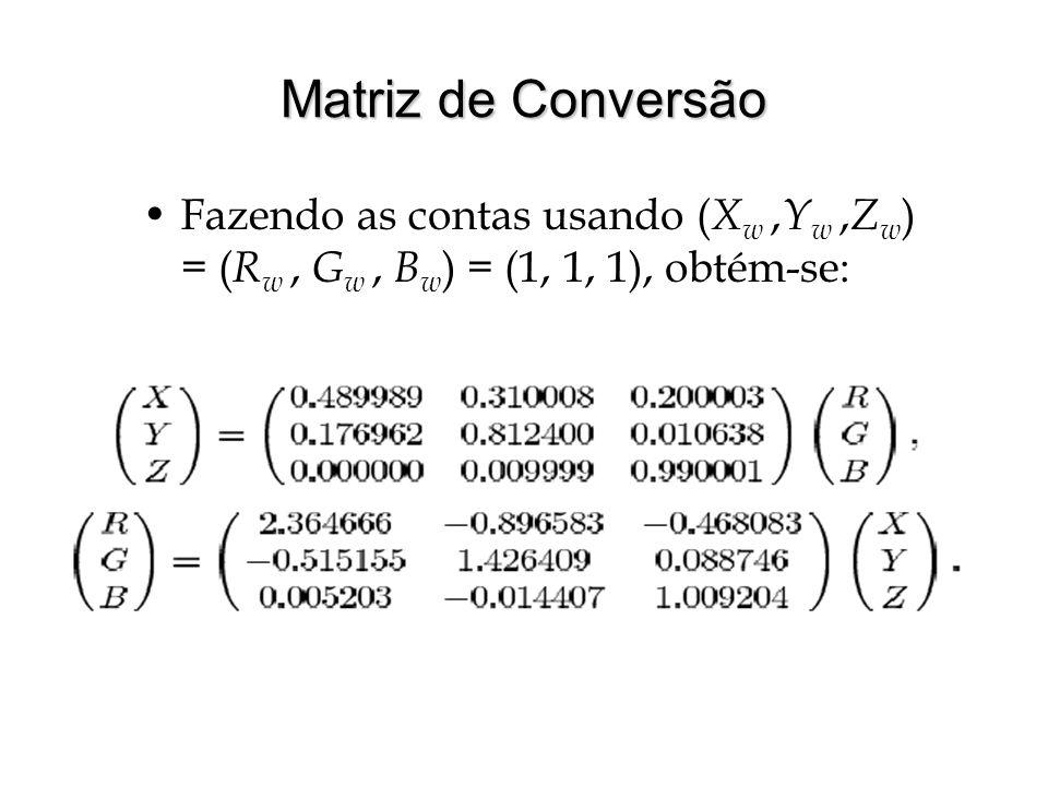 Matriz de Conversão Fazendo as contas usando ( X w, Y w, Z w ) = ( R w, G w, B w ) = (1, 1, 1), obtém-se: