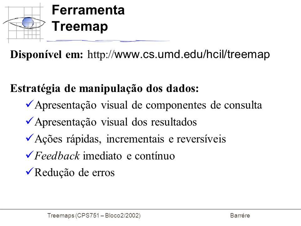 Treemaps (CPS751 – Bloco2/2002) Barrére Ferramenta Treemap Disponível em: http:// www.cs.umd.edu/hcil/treemap Estratégia de manipulação dos dados: Apr
