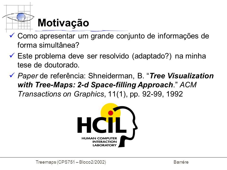 Treemaps (CPS751 – Bloco2/2002) Barrére Motivação Como apresentar um grande conjunto de informações de forma simultânea? Este problema deve ser resolv