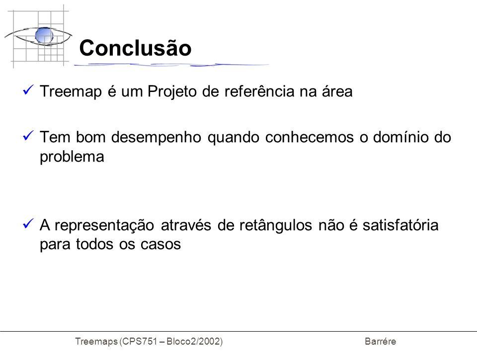 Conclusão Treemap é um Projeto de referência na área Tem bom desempenho quando conhecemos o domínio do problema A representação através de retângulos