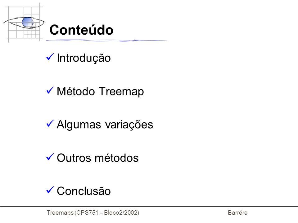 Treemaps (CPS751 – Bloco2/2002) Barrére Treemap Algoritmo x1 x2 x3 x4 x5 X 6 x7 x8 x9 P1(x1,y1) Q1(x2,y2) P2(x3,y1) Q2(x1,y2) x3=x1+(Tamanho(filhos[1])/Tamanho(árvore))*(x2-x1)
