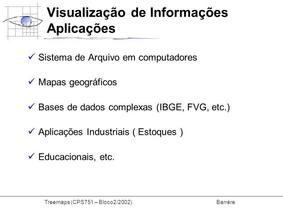Treemaps (CPS751 – Bloco2/2002) Barrére Visualização de Informações Aplicações Sistema de Arquivo em computadores Mapas geográficos Bases de dados com