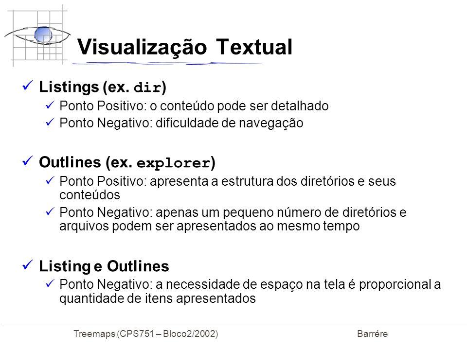 Treemaps (CPS751 – Bloco2/2002) Barrére Visualização Textual Diagramas na forma de árvore Ponto Positivo: eficiência e suavidade para pequenas hierarquias Ponto Negativo: Utilização ineficente do espaço Conexões entre nós 50% da tela é background O processo de zoom nem sempre é bem sucedido Falta de conteúdo nas grandes hierarquias
