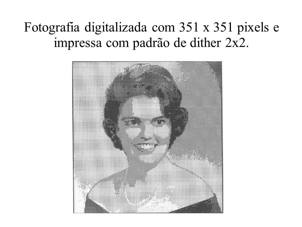 Fotografia digitalizada com 351 x 351 pixels e impressa com padrão de dither 2x2.