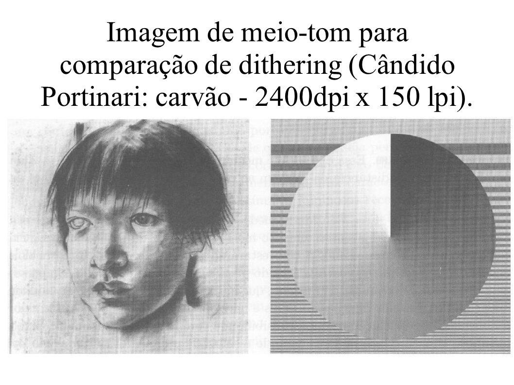 Imagem de meio-tom para comparação de dithering (Cândido Portinari: carvão - 2400dpi x 150 lpi).