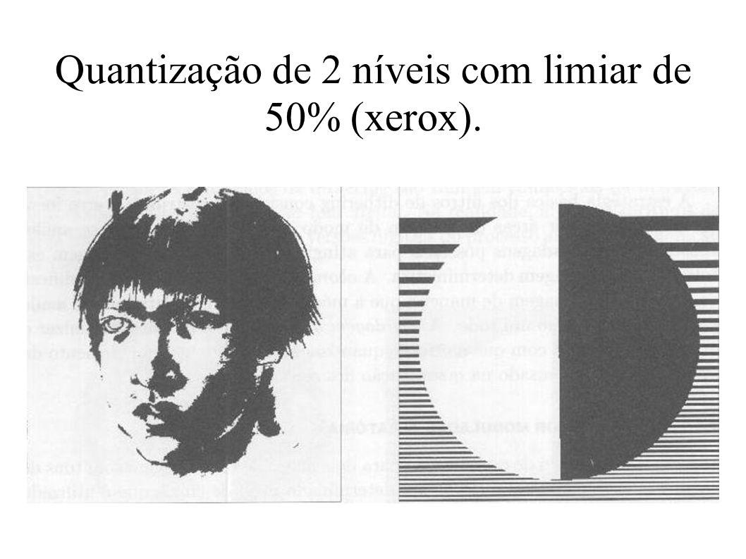 Quantização de 2 níveis com limiar de 50% (xerox).