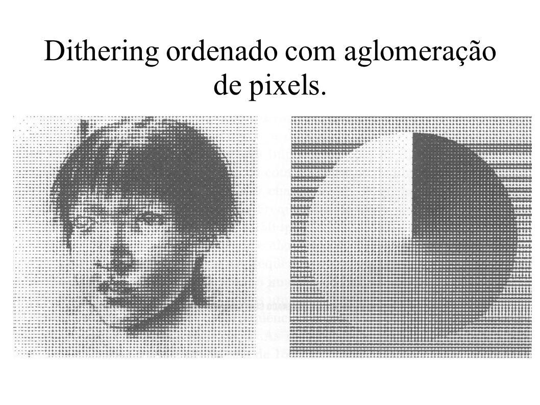 Dithering ordenado com aglomeração de pixels.