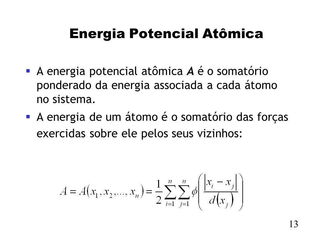 Energia Potencial Atômica A energia potencial atômica A é o somatório ponderado da energia associada a cada átomo no sistema. A energia de um átomo é