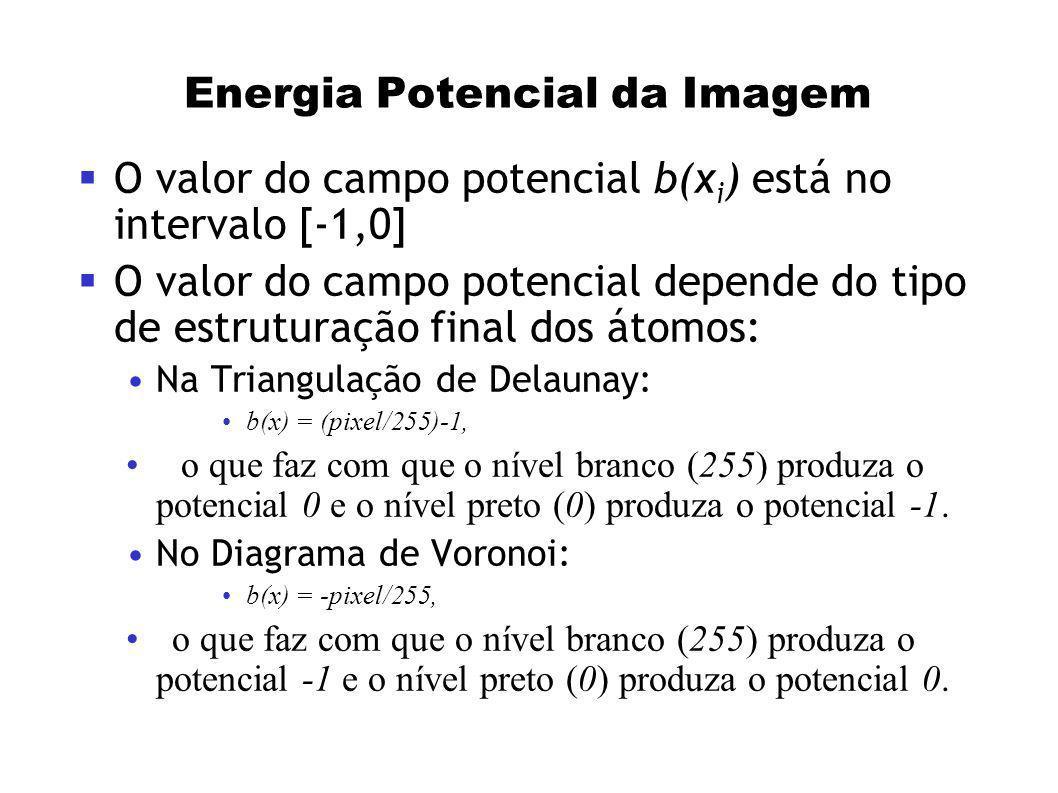 Energia Potencial da Imagem O valor do campo potencial b(x i ) está no intervalo [-1,0] O valor do campo potencial depende do tipo de estruturação fin