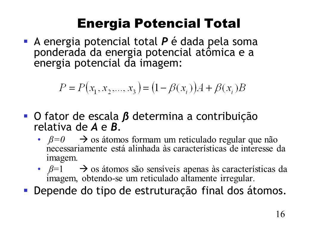 Energia Potencial Total A energia potencial total P é dada pela soma ponderada da energia potencial atômica e a energia potencial da imagem: O fator d