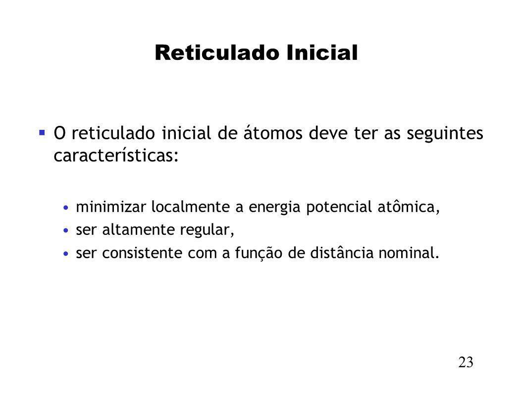 Reticulado Inicial O reticulado inicial de átomos deve ter as seguintes características: minimizar localmente a energia potencial atômica, ser altamen
