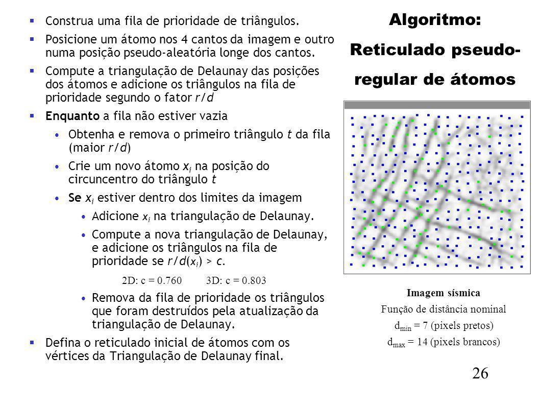 26 Imagem sísmica Função de distância nominal d min = 7 (pixels pretos) d max = 14 (pixels brancos) Construa uma fila de prioridade de triângulos. Pos