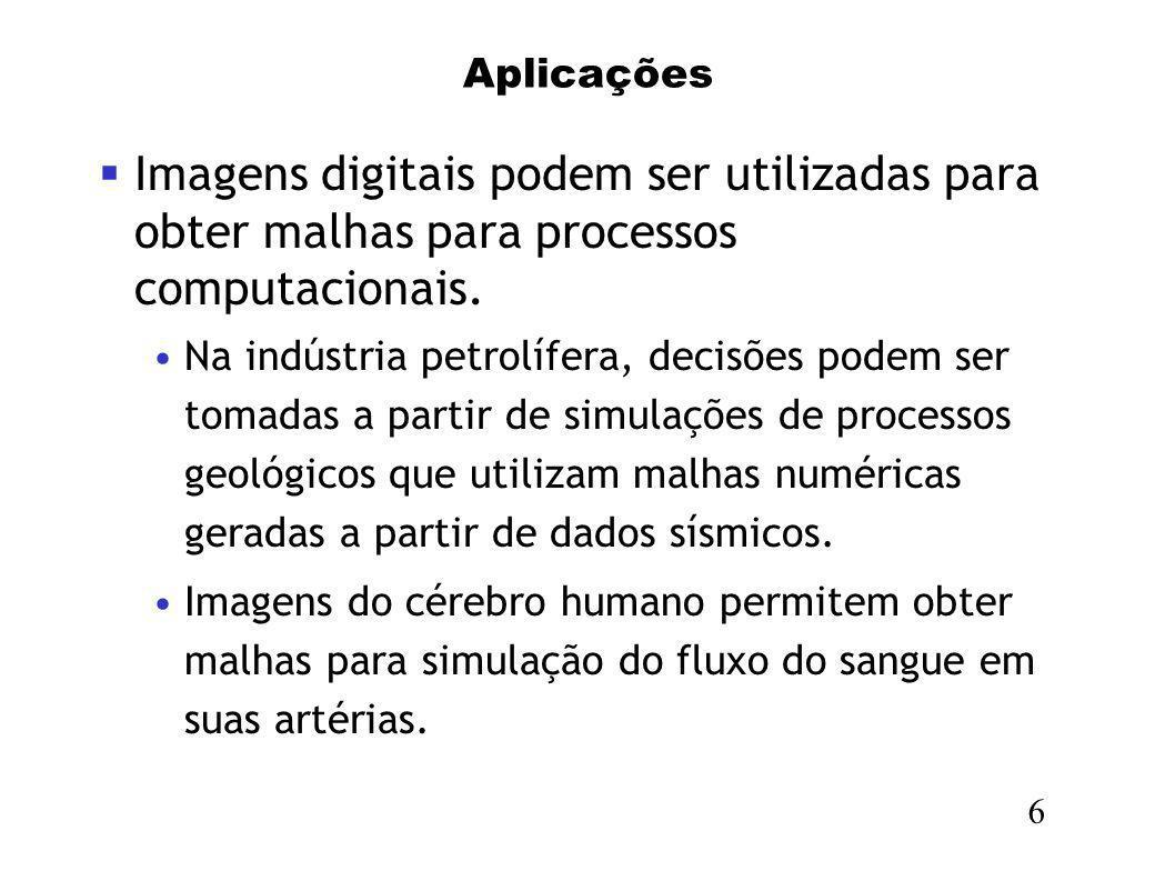 Aplicações Imagens digitais podem ser utilizadas para obter malhas para processos computacionais. Na indústria petrolífera, decisões podem ser tomadas