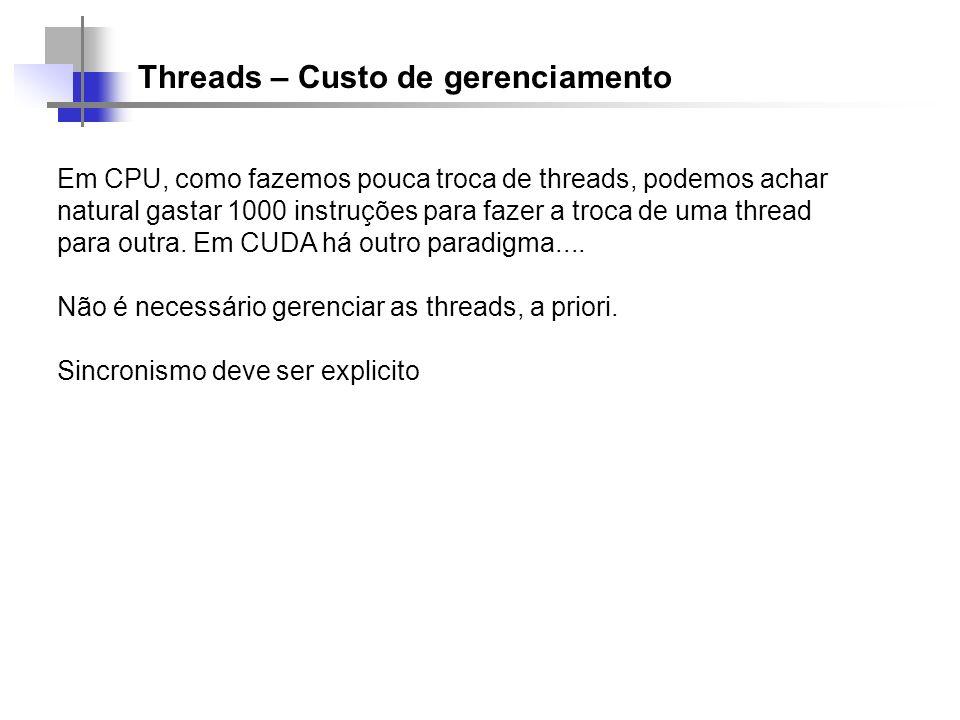 Threads – Custo de gerenciamento Em CPU, como fazemos pouca troca de threads, podemos achar natural gastar 1000 instruções para fazer a troca de uma t