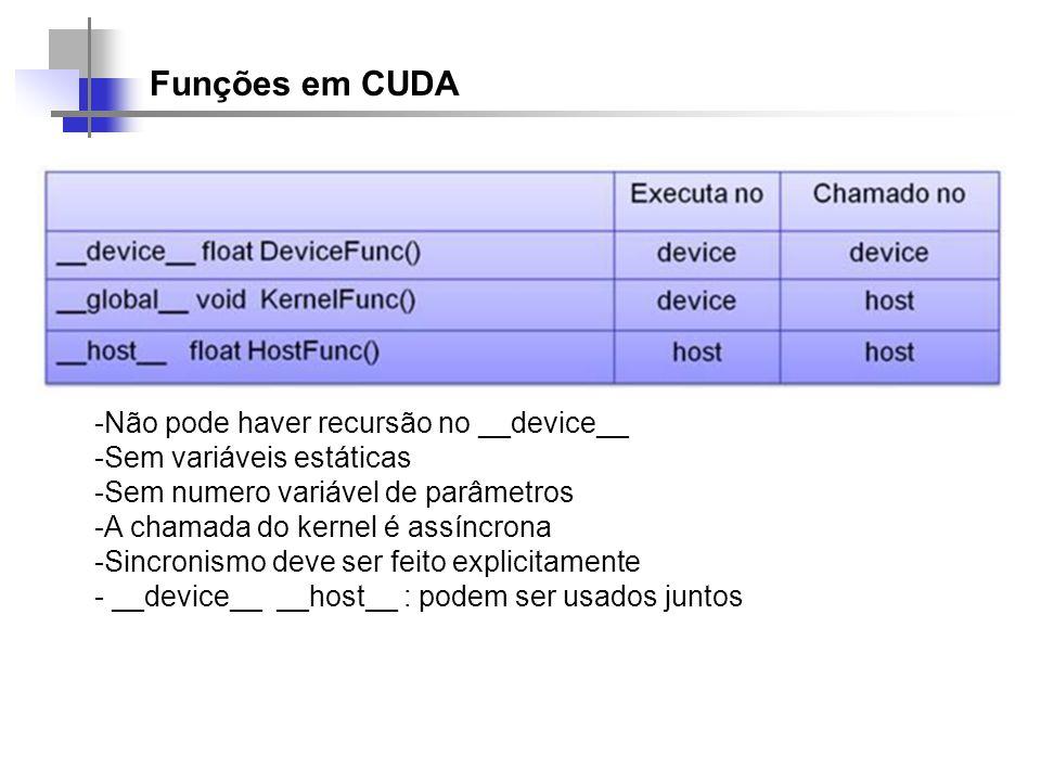 Funções em CUDA -Não pode haver recursão no __device__ -Sem variáveis estáticas -Sem numero variável de parâmetros -A chamada do kernel é assíncrona -