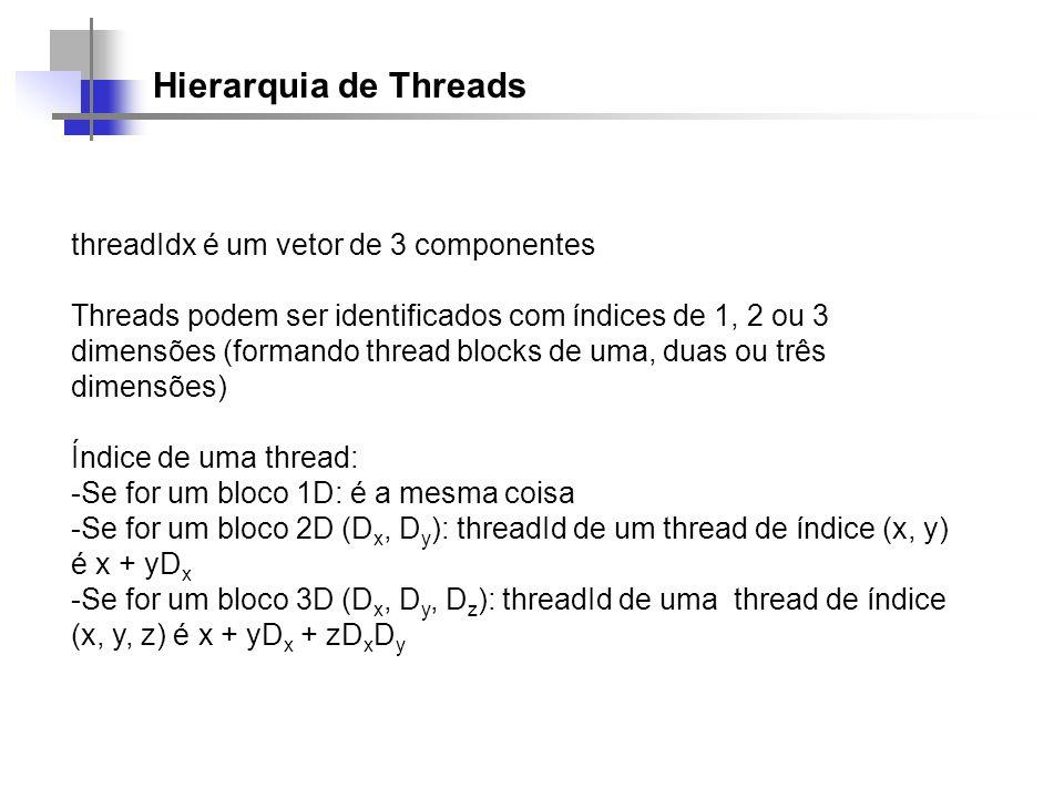 Hierarquia de Threads threadIdx é um vetor de 3 componentes Threads podem ser identificados com índices de 1, 2 ou 3 dimensões (formando thread blocks