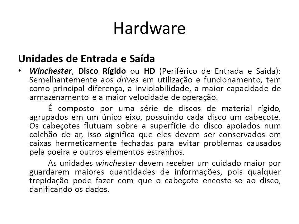Hardware Unidades de Entrada e Saída Winchester, Disco Rígido ou HD (Periférico de Entrada e Saída): Semelhantemente aos drives em utilização e funcionamento, tem como principal diferença, a inviolabilidade, a maior capacidade de armazenamento e a maior velocidade de operação.