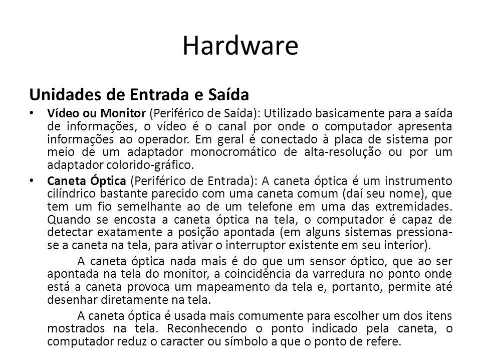 Hardware Unidades de Entrada e Saída Vídeo ou Monitor (Periférico de Saída): Utilizado basicamente para a saída de informações, o vídeo é o canal por onde o computador apresenta informações ao operador.