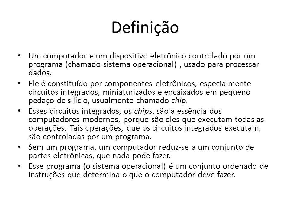 Definição Um computador é um dispositivo eletrônico controlado por um programa (chamado sistema operacional), usado para processar dados.