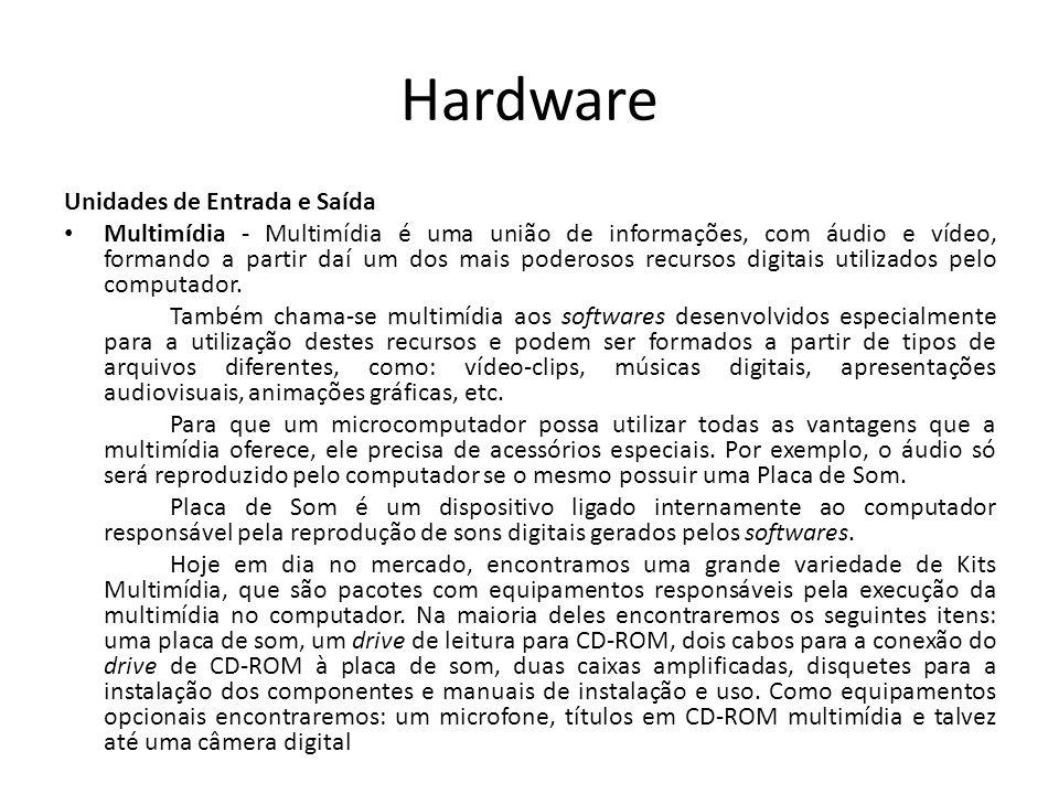 Hardware Unidades de Entrada e Saída Multimídia - Multimídia é uma união de informações, com áudio e vídeo, formando a partir daí um dos mais poderosos recursos digitais utilizados pelo computador.