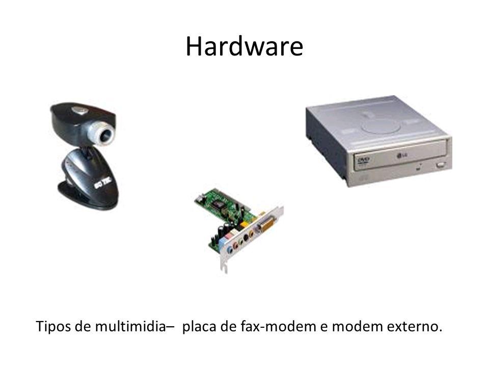 Hardware Tipos de multimidia– placa de fax-modem e modem externo.