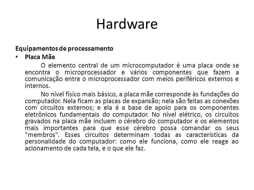Hardware Equipamentos de processamento Placa Mãe O elemento central de um microcomputador é uma placa onde se encontra o microprocessador e vários componentes que fazem a comunicação entre o microprocessador com meios periféricos externos e internos.