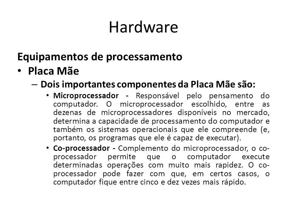 Hardware Equipamentos de processamento Placa Mãe – Dois importantes componentes da Placa Mãe são: Microprocessador - Responsável pelo pensamento do computador.