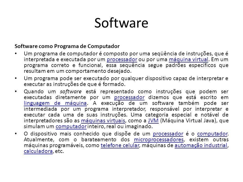 Software como Programa de Computador Um programa de computador é composto por uma seqüência de instruções, que é interpretada e executada por um processador ou por uma máquina virtual.