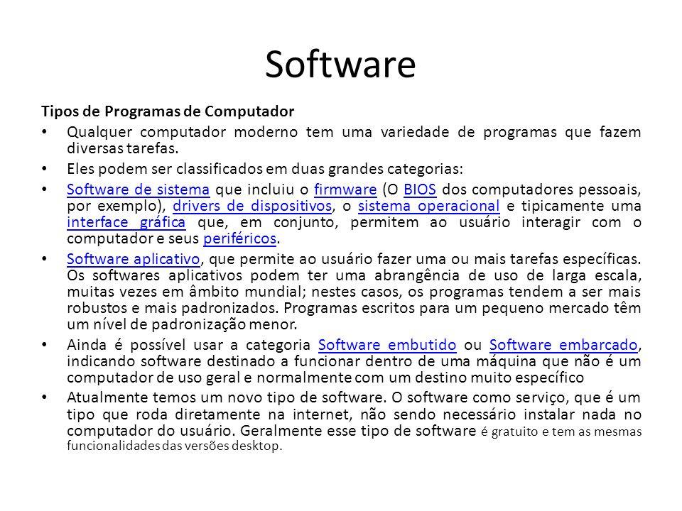 Software Tipos de Programas de Computador Qualquer computador moderno tem uma variedade de programas que fazem diversas tarefas.