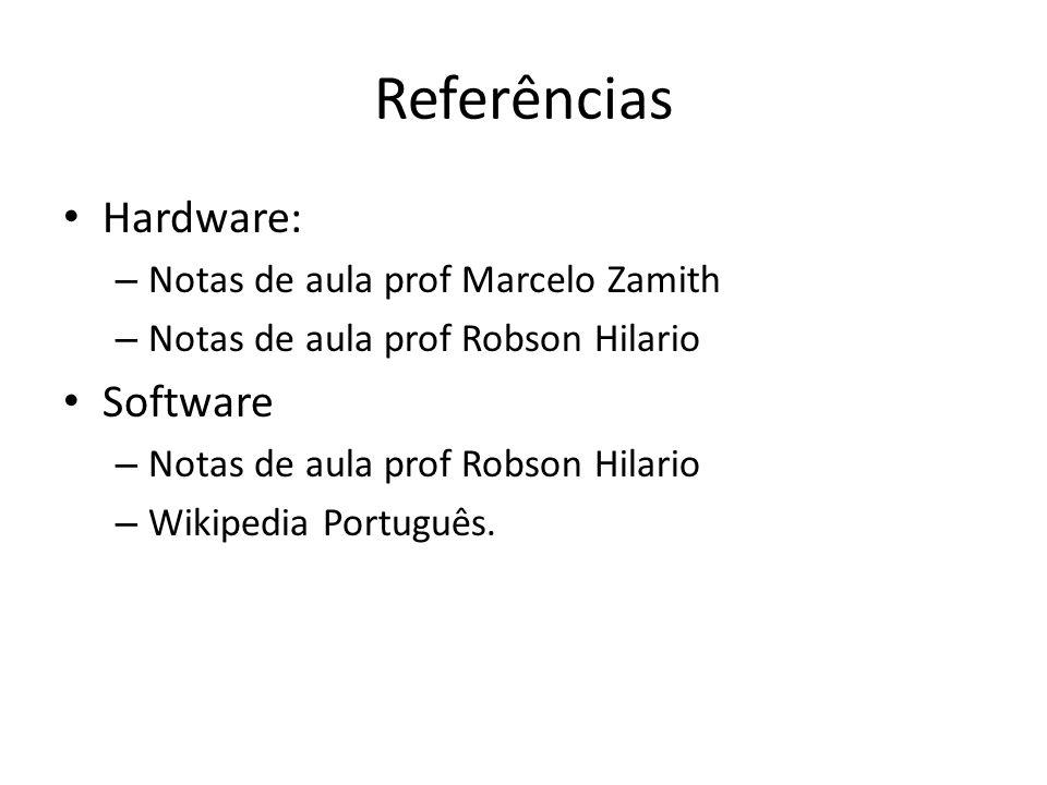 Referências Hardware: – Notas de aula prof Marcelo Zamith – Notas de aula prof Robson Hilario Software – Notas de aula prof Robson Hilario – Wikipedia Português.