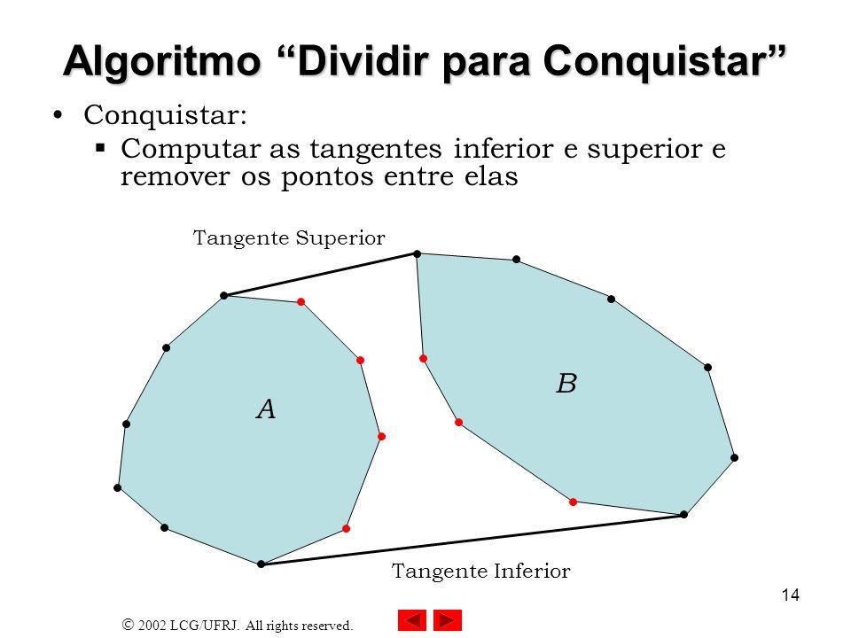 2002 LCG/UFRJ. All rights reserved. 14 Algoritmo Dividir para Conquistar Conquistar: Computar as tangentes inferior e superior e remover os pontos ent