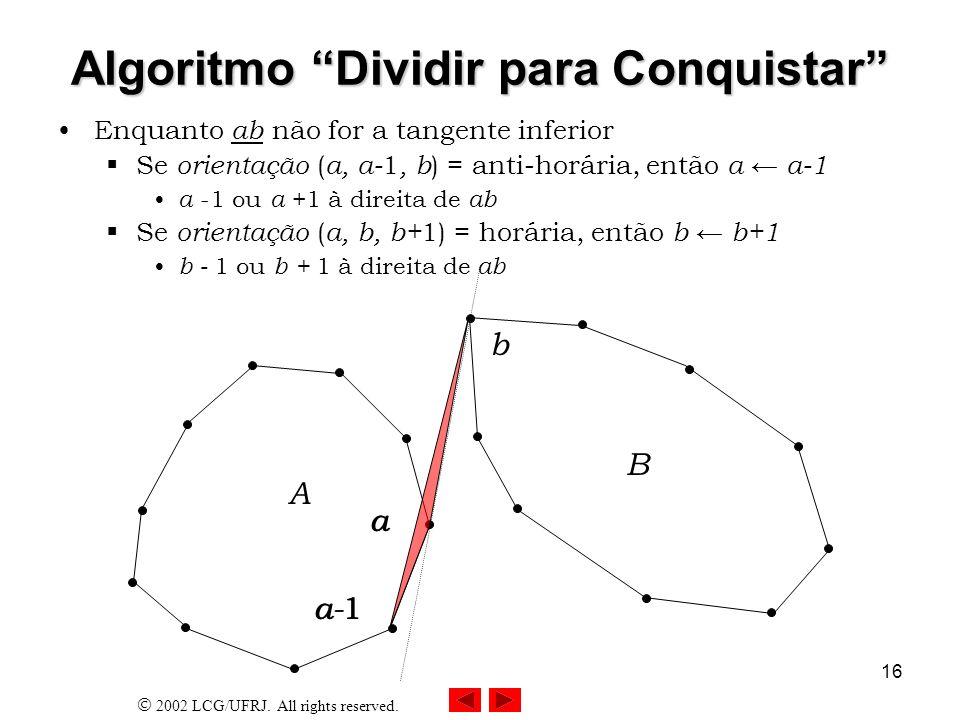 2002 LCG/UFRJ. All rights reserved. 16 Algoritmo Dividir para Conquistar Enquanto ab não for a tangente inferior Se orientação ( a, a- 1, b ) = anti-h