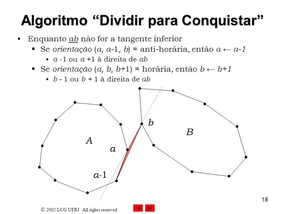 2002 LCG/UFRJ. All rights reserved. 18 Algoritmo Dividir para Conquistar Enquanto ab não for a tangente inferior Se orientação ( a, a- 1, b ) = anti-h