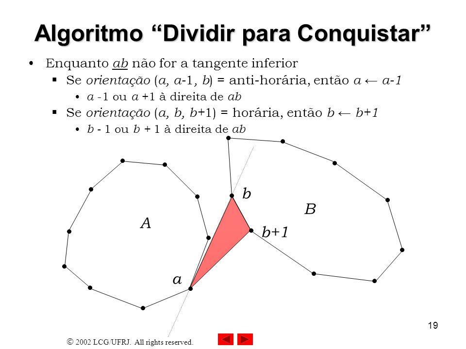 2002 LCG/UFRJ. All rights reserved. 19 Algoritmo Dividir para Conquistar Enquanto ab não for a tangente inferior Se orientação ( a, a- 1, b ) = anti-h