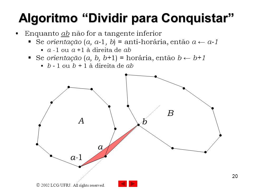 2002 LCG/UFRJ. All rights reserved. 20 Algoritmo Dividir para Conquistar Enquanto ab não for a tangente inferior Se orientação ( a, a- 1, b ) = anti-h