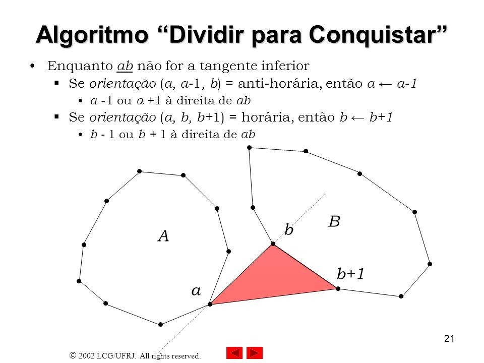 2002 LCG/UFRJ. All rights reserved. 21 Algoritmo Dividir para Conquistar Enquanto ab não for a tangente inferior Se orientação ( a, a- 1, b ) = anti-h