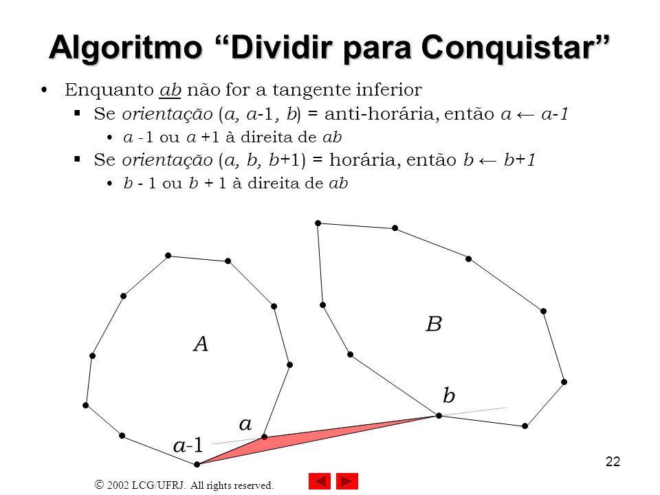 2002 LCG/UFRJ. All rights reserved. 22 Algoritmo Dividir para Conquistar Enquanto ab não for a tangente inferior Se orientação ( a, a- 1, b ) = anti-h