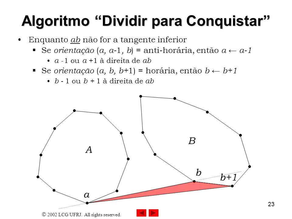 2002 LCG/UFRJ. All rights reserved. 23 Algoritmo Dividir para Conquistar Enquanto ab não for a tangente inferior Se orientação ( a, a- 1, b ) = anti-h