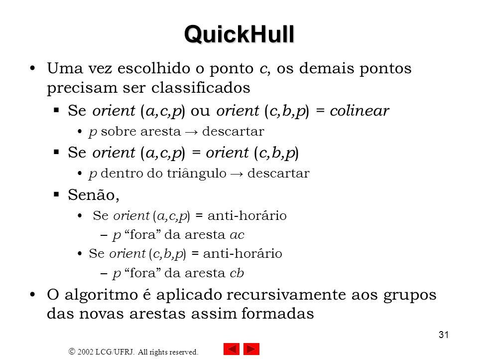2002 LCG/UFRJ. All rights reserved. 31 QuickHull Uma vez escolhido o ponto c, os demais pontos precisam ser classificados Se orient ( a,c,p ) ou orien