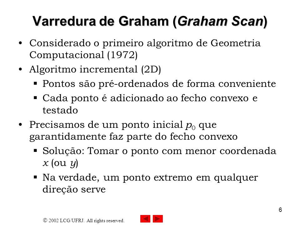2002 LCG/UFRJ. All rights reserved. 6 Varredura de Graham (Graham Scan) Considerado o primeiro algoritmo de Geometria Computacional (1972) Algoritmo i